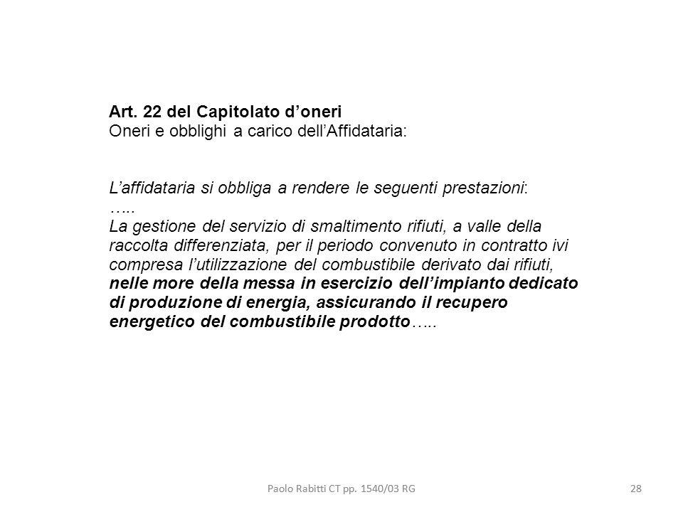 Art. 22 del Capitolato d'oneri