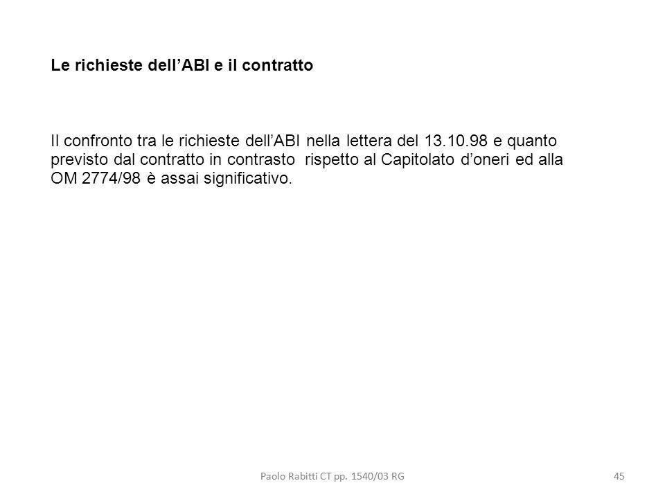 Le richieste dell'ABI e il contratto