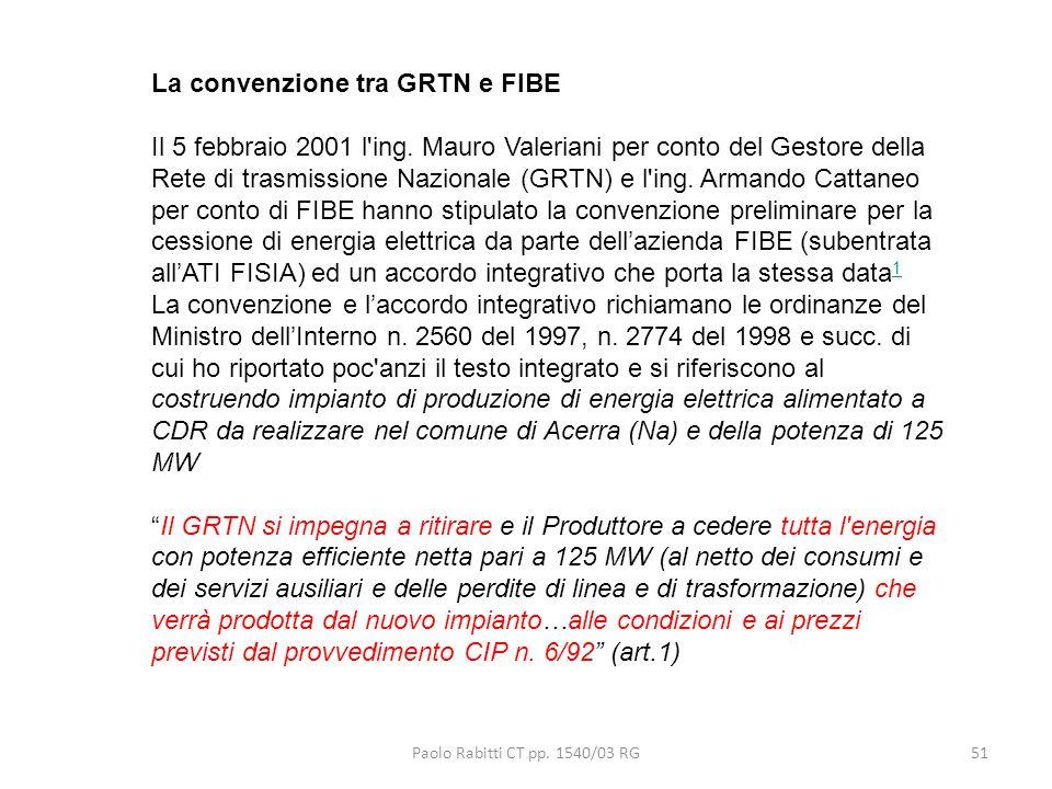 La convenzione tra GRTN e FIBE