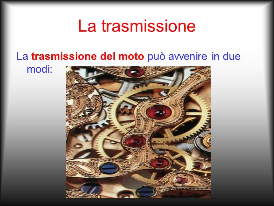 La trasmissione La trasmissione del moto può avvenire in due modi: