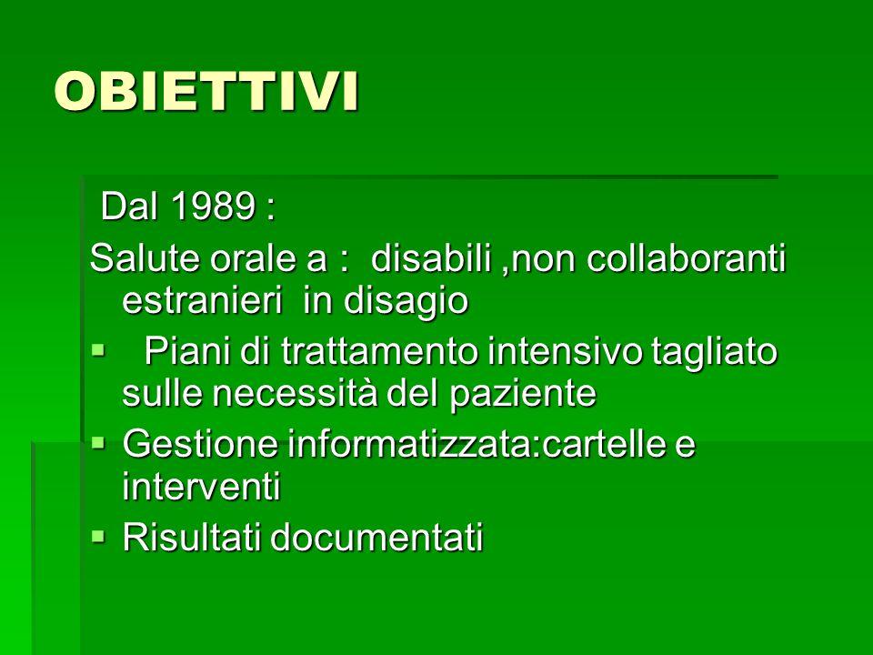 OBIETTIVI Dal 1989 : Salute orale a : disabili ,non collaboranti estranieri in disagio.