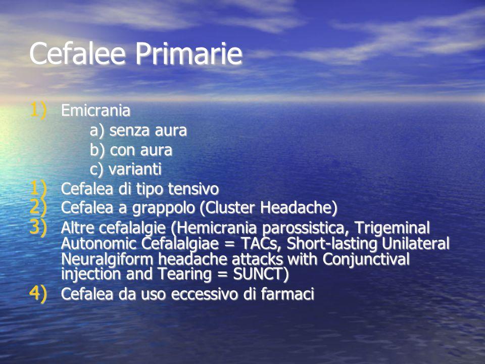 Cefalee Primarie Emicrania a) senza aura b) con aura c) varianti