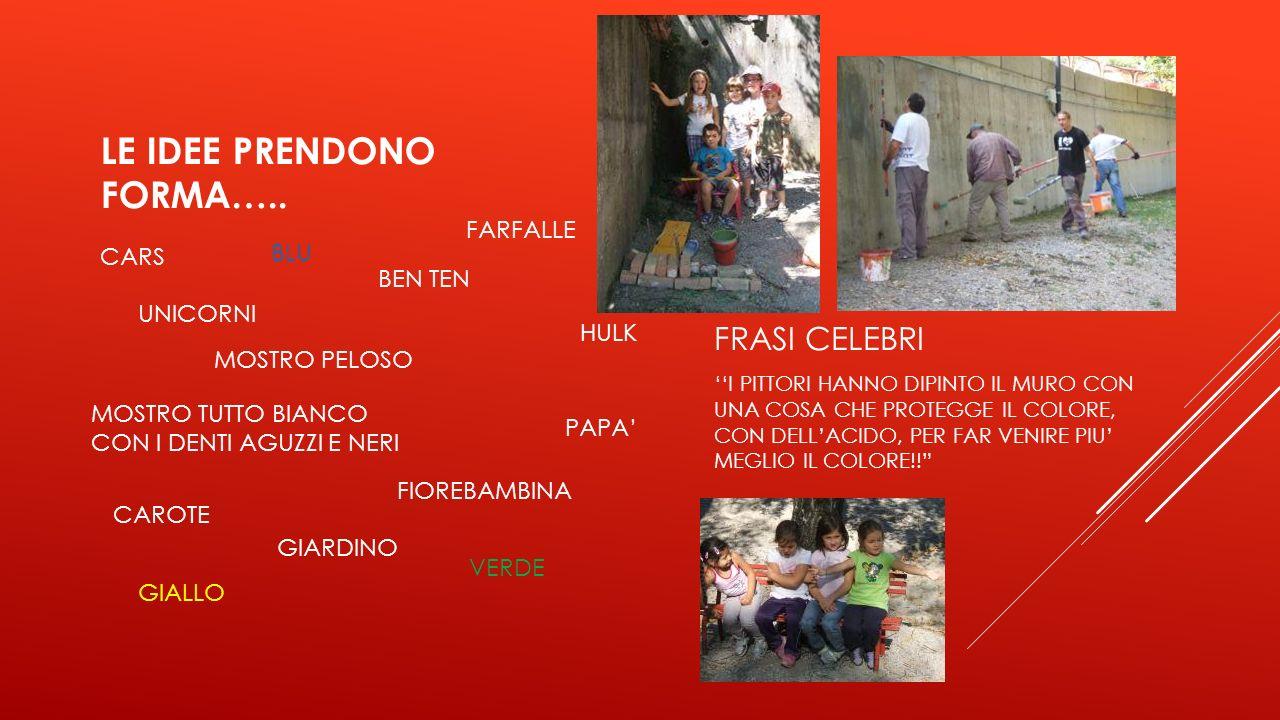 LE IDEE PRENDONO FORMA…..