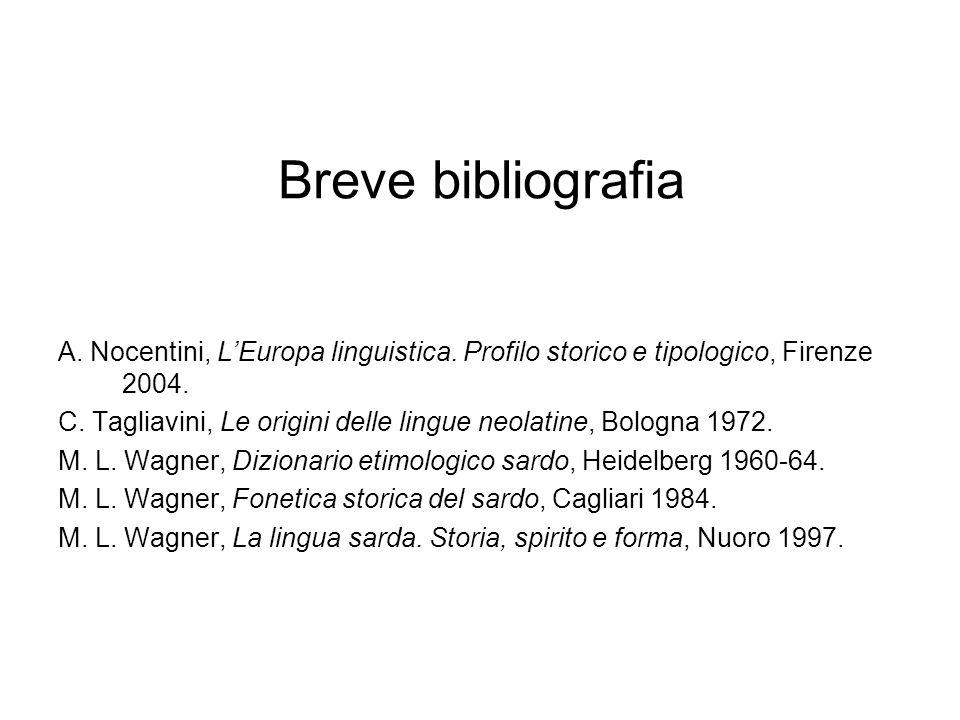 Breve bibliografia A. Nocentini, L'Europa linguistica. Profilo storico e tipologico, Firenze 2004.