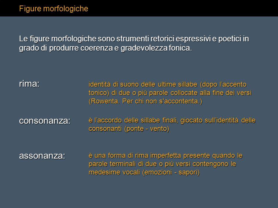 rima: consonanza: assonanza: Figure morfologiche