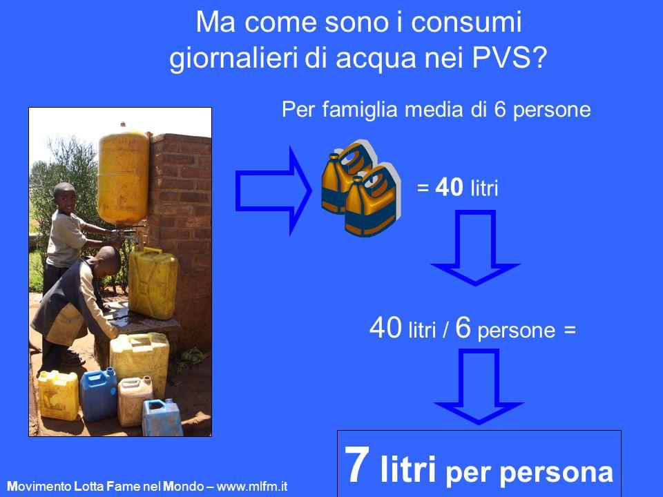 7 litri per persona Ma come sono i consumi
