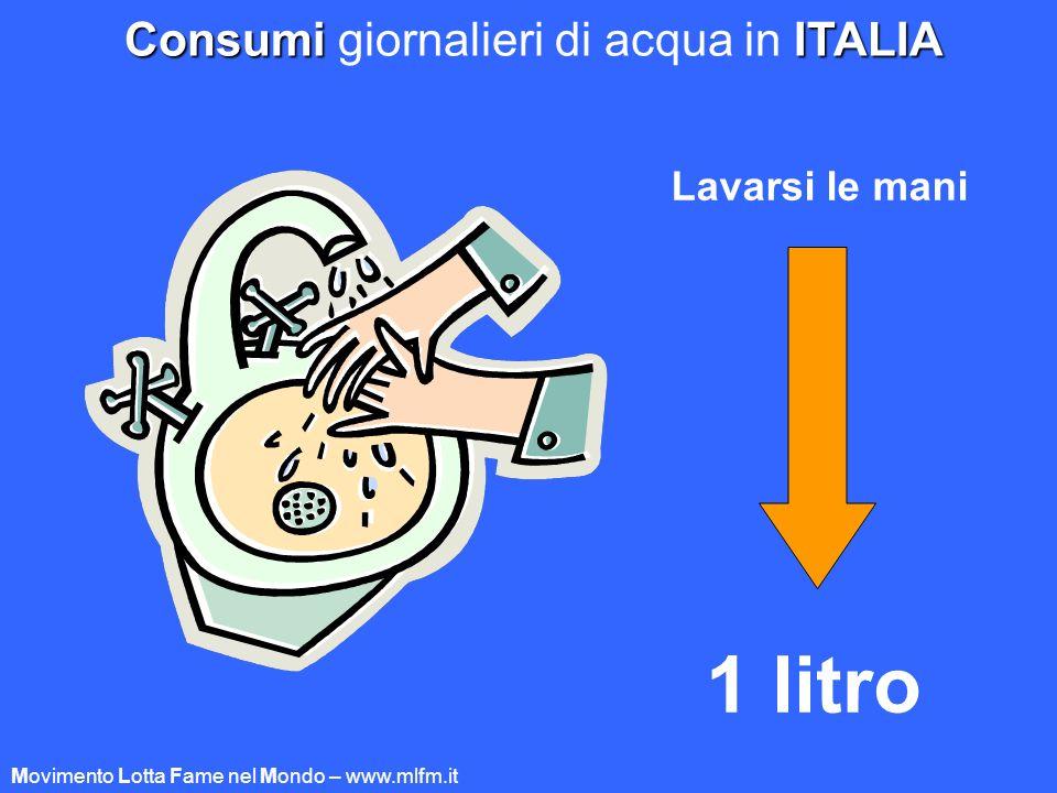 Consumi giornalieri di acqua in ITALIA