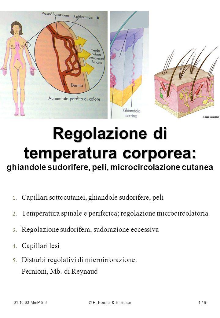 Regolazione di temperatura corporea: ghiandole sudorifere, peli, microcircolazione cutanea