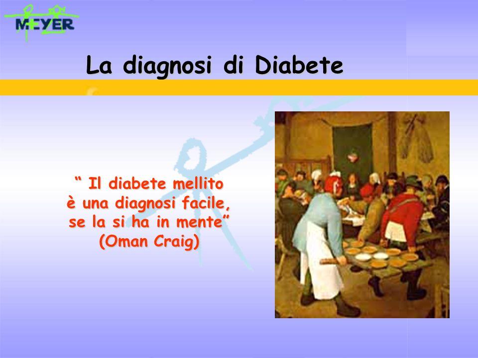 La diagnosi di Diabete Il diabete mellito è una diagnosi facile,