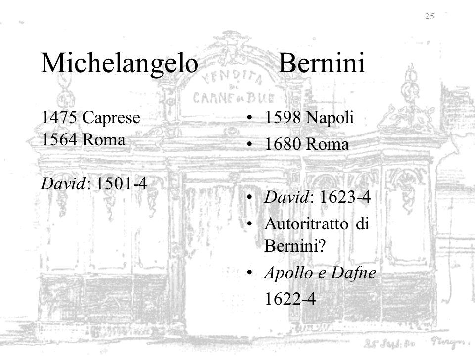 Michelangelo Bernini 1475 Caprese 1564 Roma David: 1501-4 1598 Napoli