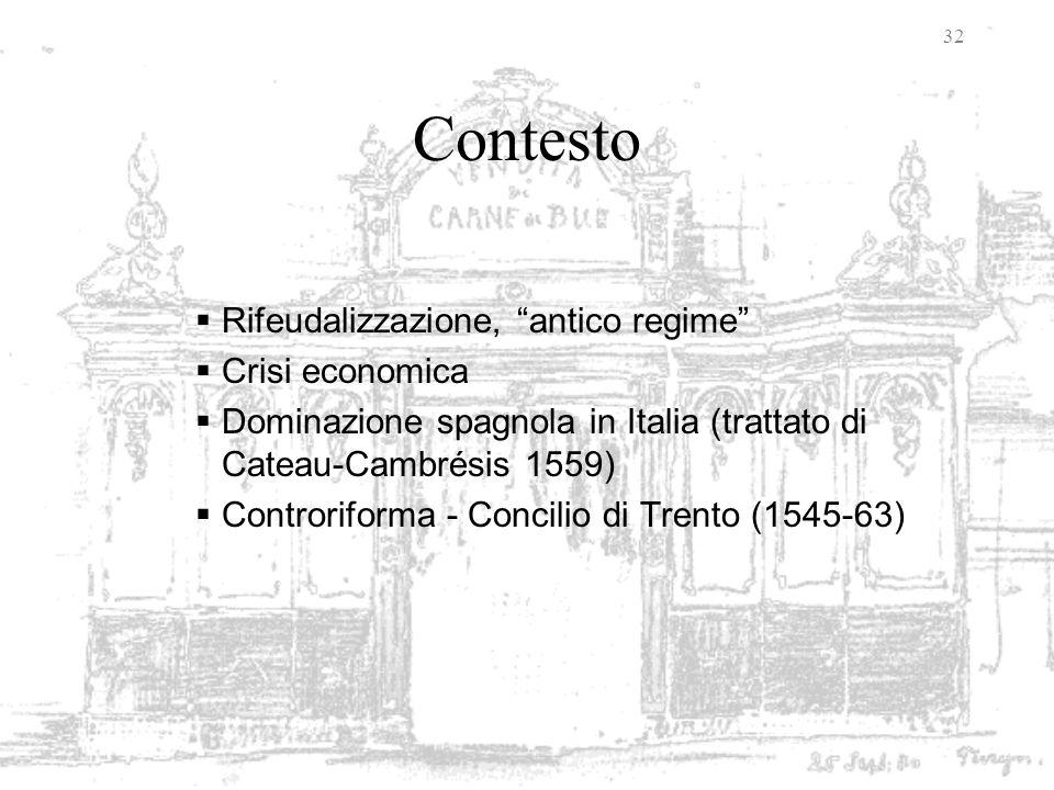 Contesto Rifeudalizzazione, antico regime Crisi economica