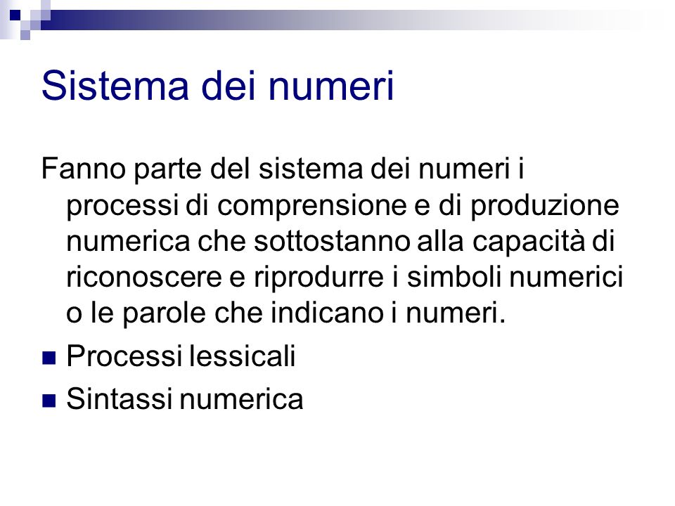 Sistema dei numeri