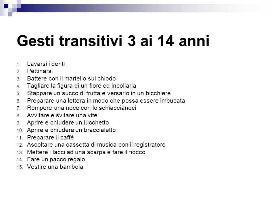 Gesti transitivi 3 ai 14 anni