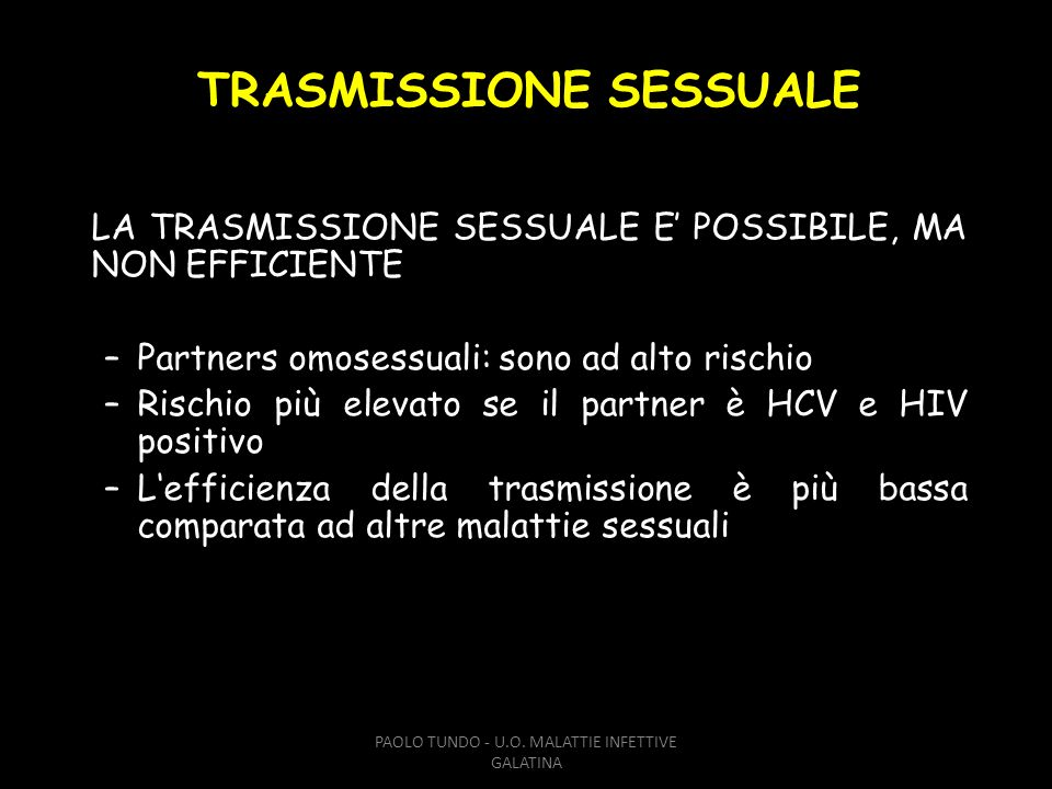 TRASMISSIONE SESSUALE