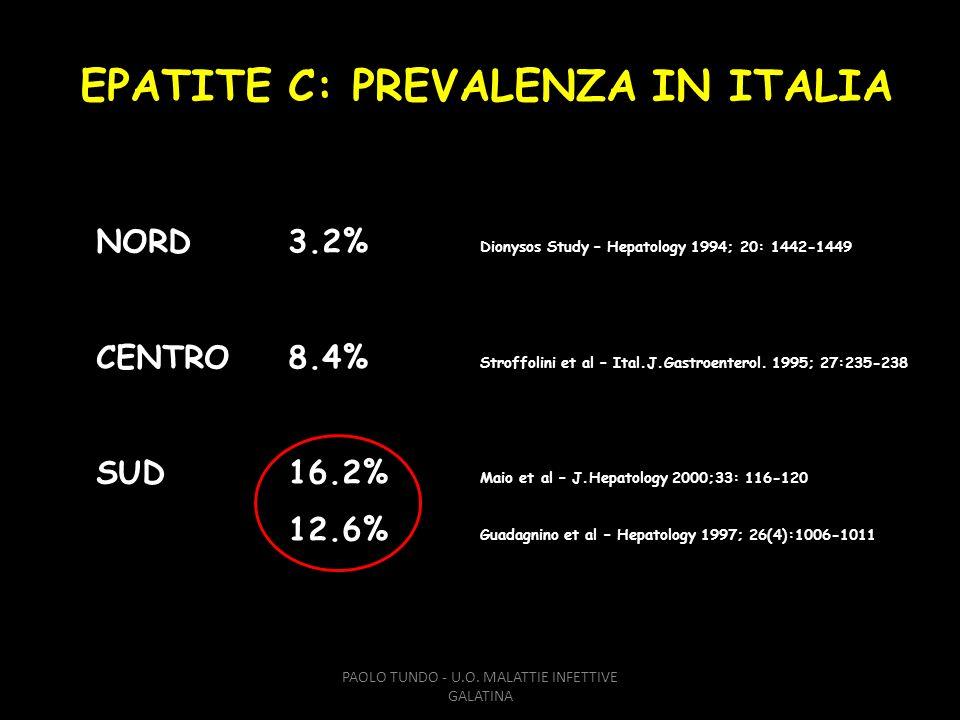 EPATITE C: PREVALENZA IN ITALIA