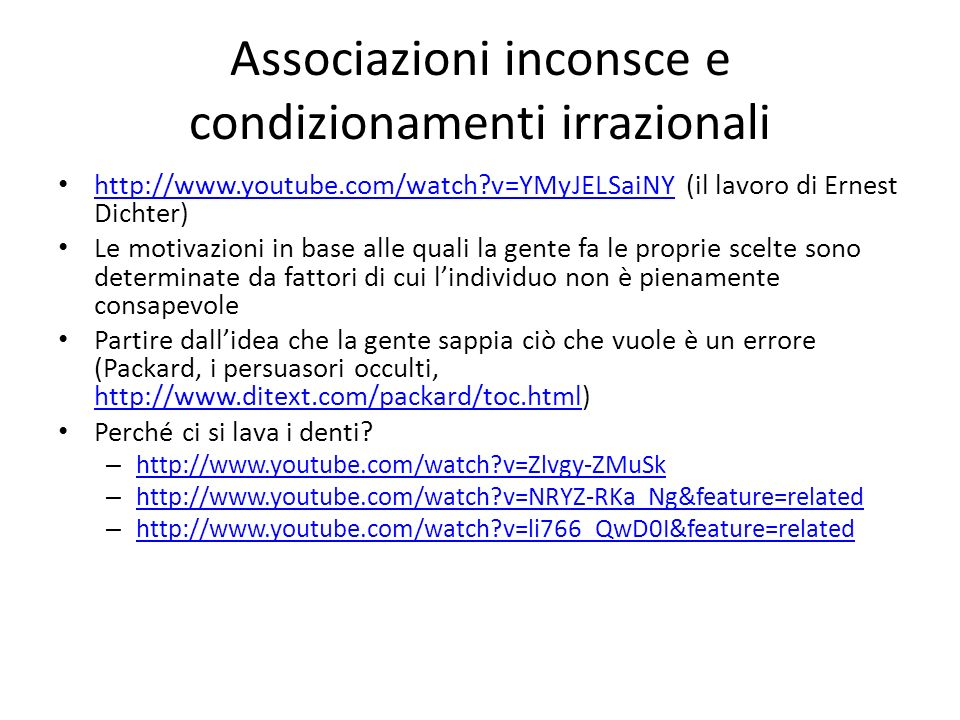 Associazioni inconsce e condizionamenti irrazionali