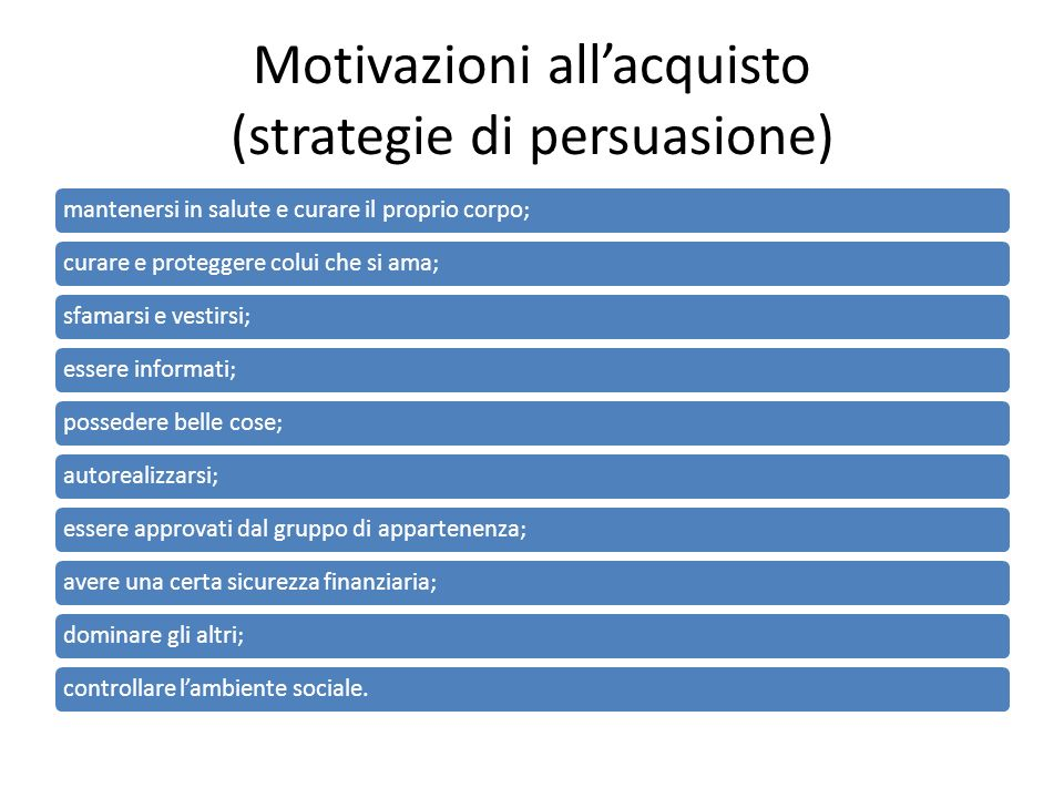 Motivazioni all'acquisto (strategie di persuasione)