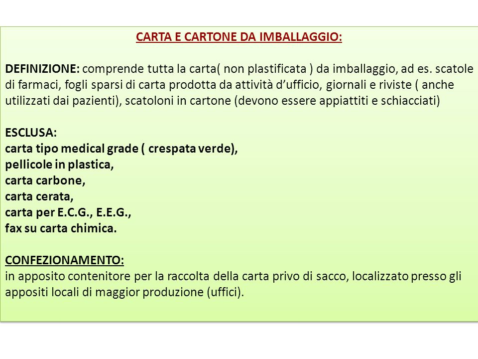 CARTA E CARTONE DA IMBALLAGGIO: