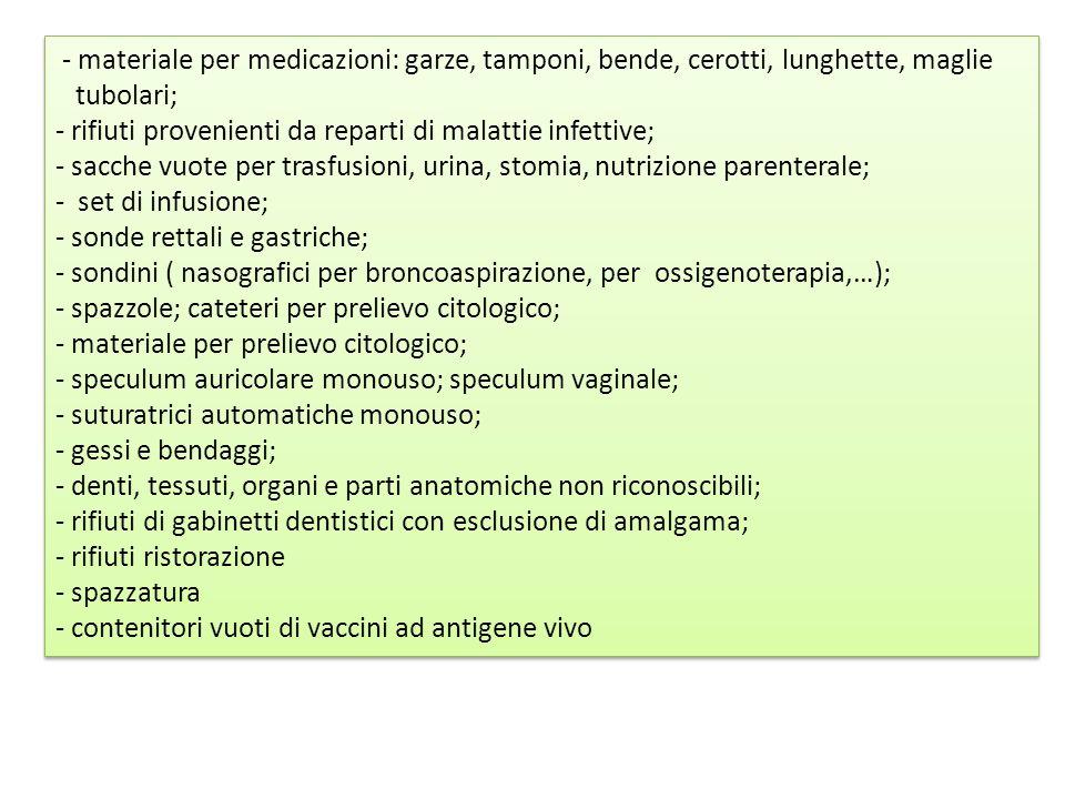 - materiale per medicazioni: garze, tamponi, bende, cerotti, lunghette, maglie
