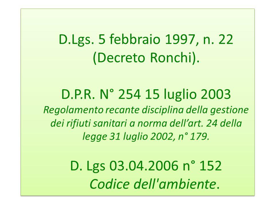 D. Lgs. 5 febbraio 1997, n. 22 (Decreto Ronchi). D. P. R