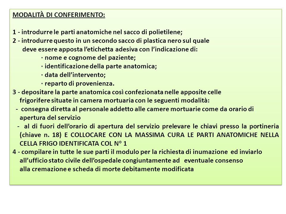 MODALITÀ DI CONFERIMENTO: