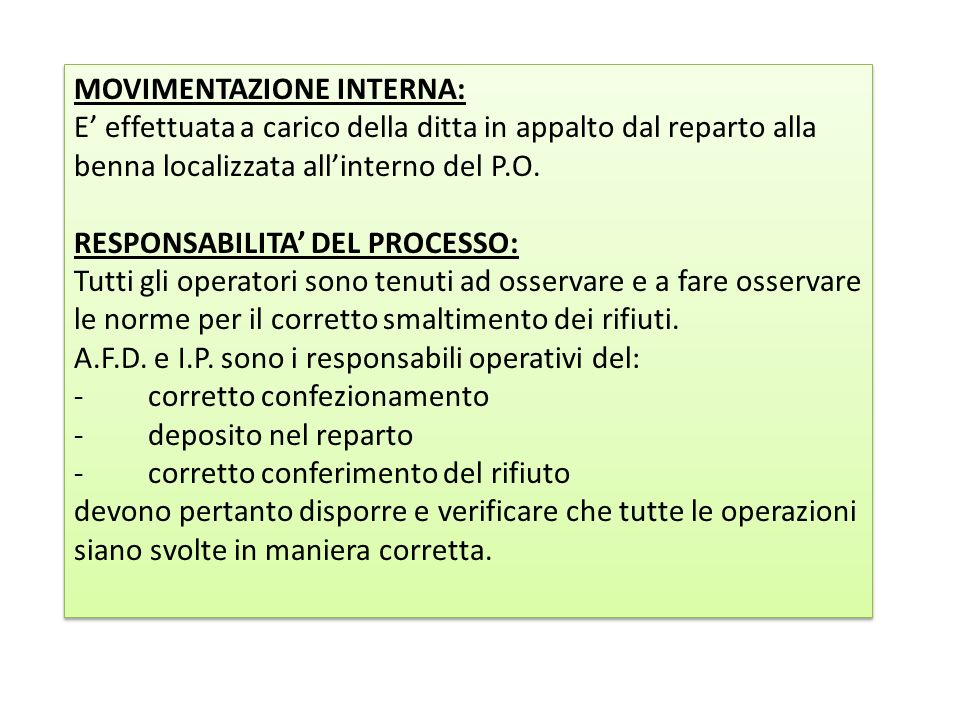 MOVIMENTAZIONE INTERNA: