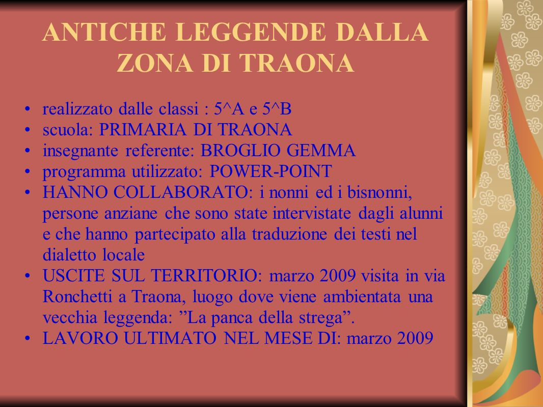 ANTICHE LEGGENDE DALLA ZONA DI TRAONA