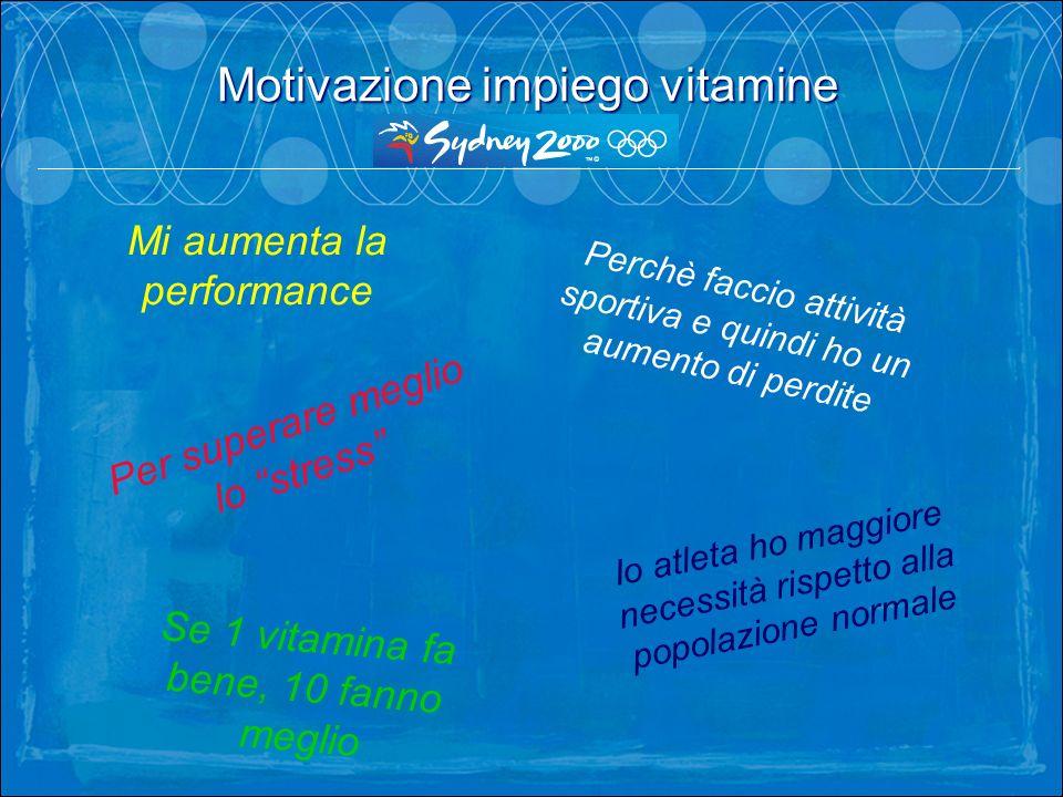Motivazione impiego vitamine