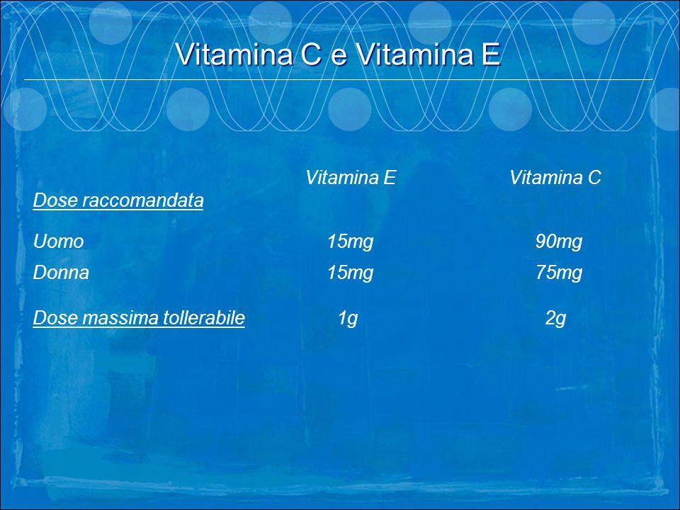 Vitamina C e Vitamina E Vitamina E Vitamina C Dose raccomandata