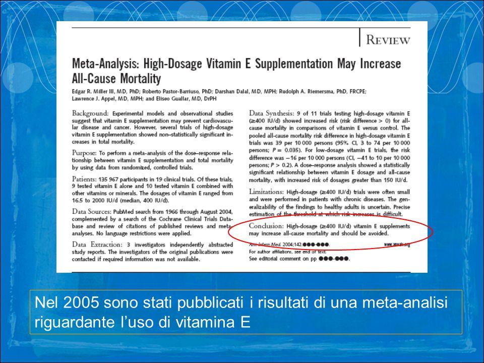 Nel 2005 sono stati pubblicati i risultati di una meta-analisi riguardante l'uso di vitamina E