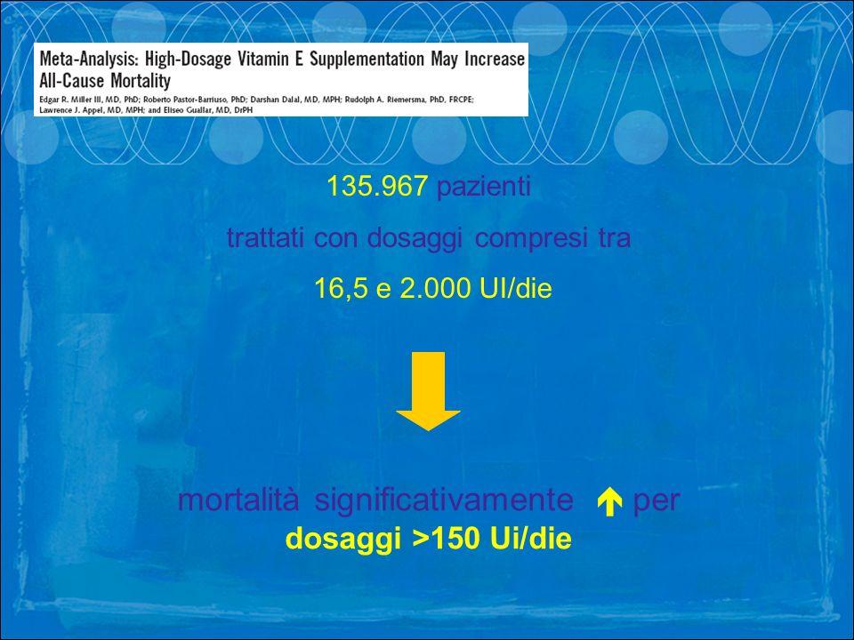 mortalità significativamente  per dosaggi >150 Ui/die