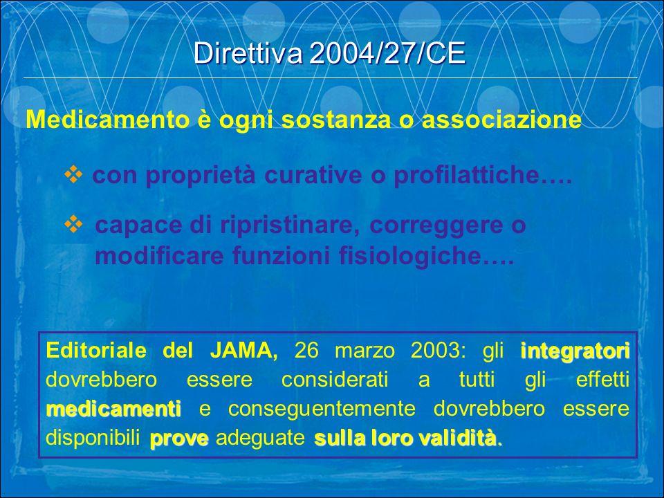 Direttiva 2004/27/CE Medicamento è ogni sostanza o associazione