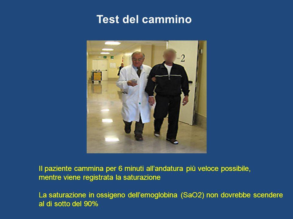 Test del cammino Il paziente cammina per 6 minuti all'andatura più veloce possibile, mentre viene registrata la saturazione.