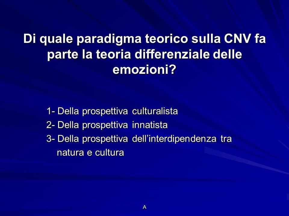 Di quale paradigma teorico sulla CNV fa parte la teoria differenziale delle emozioni