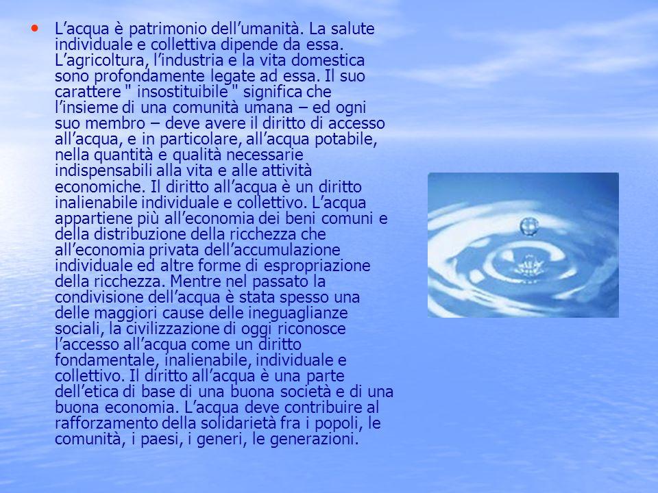 L'acqua è patrimonio dell'umanità