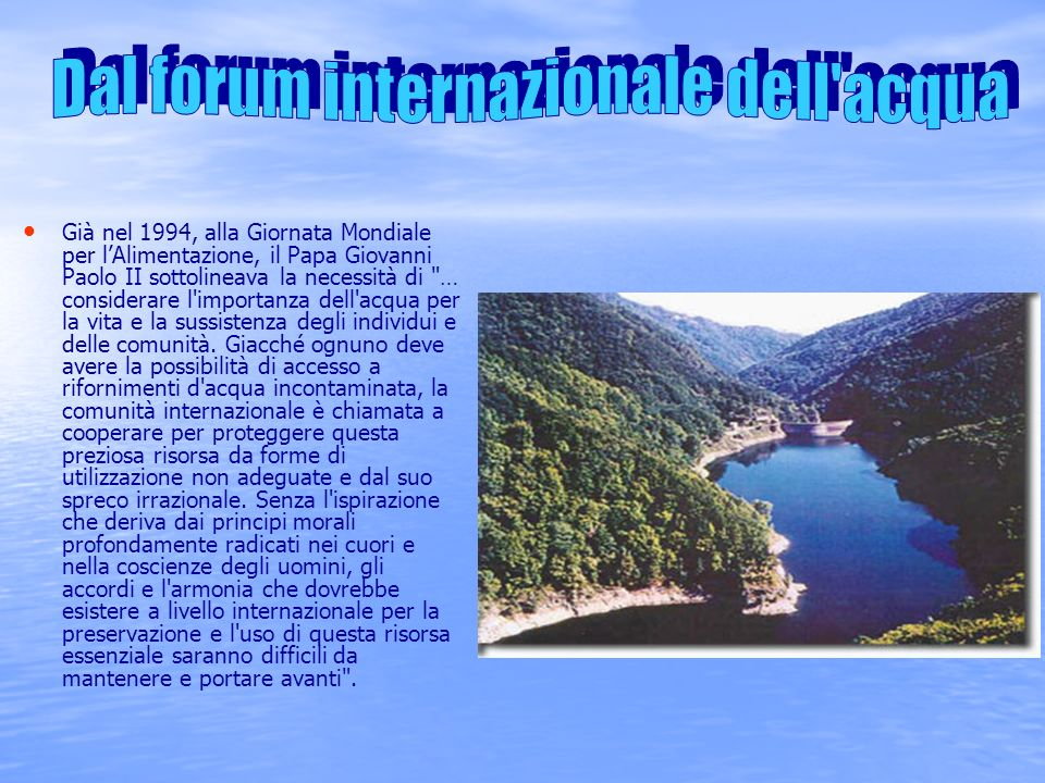Dal forum internazionale dell acqua