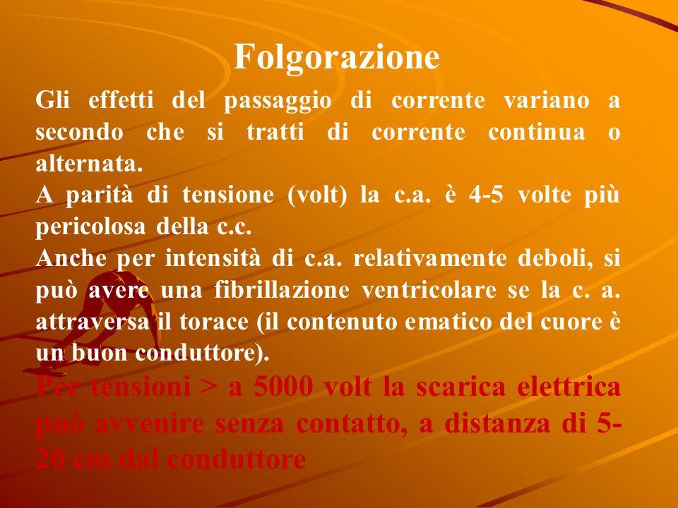 Folgorazione Gli effetti del passaggio di corrente variano a secondo che si tratti di corrente continua o alternata.