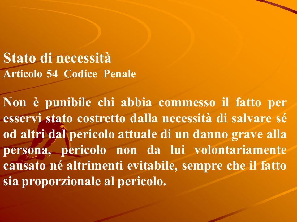 Stato di necessità Articolo 54 Codice Penale.
