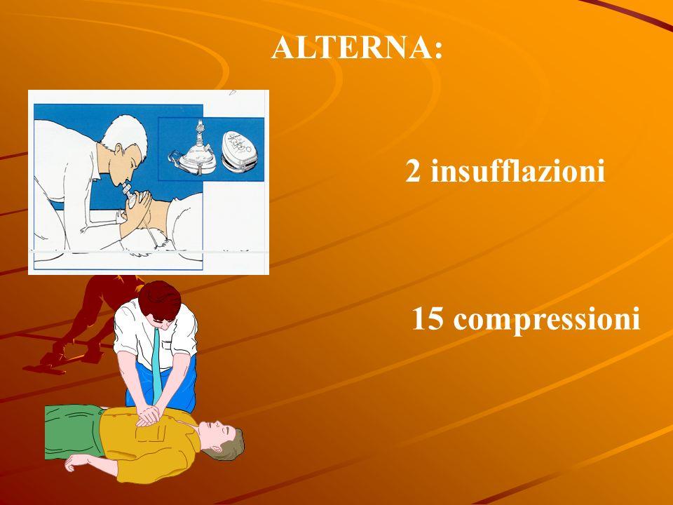 ALTERNA: 2 insufflazioni 15 compressioni