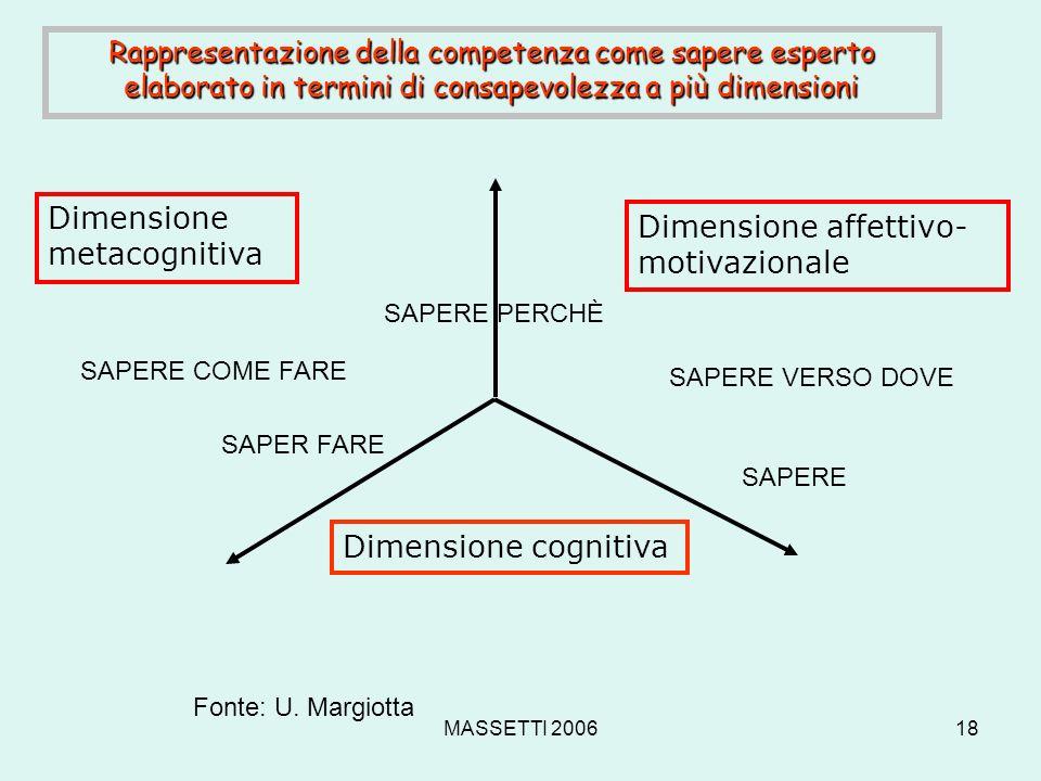 Dimensione metacognitiva Dimensione affettivo-motivazionale