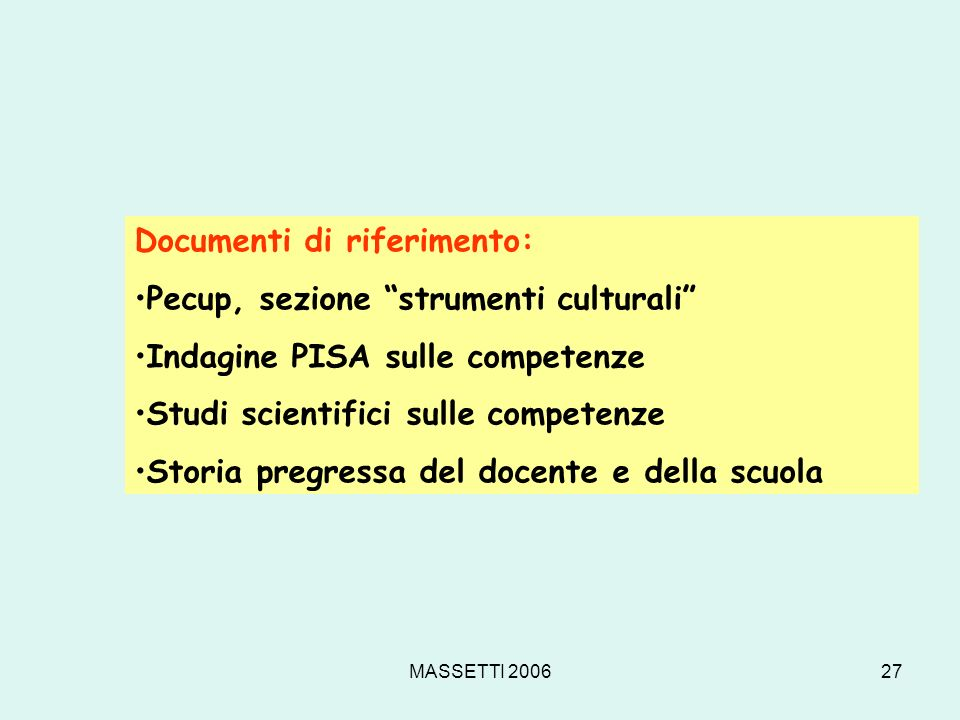 Documenti di riferimento: Pecup, sezione strumenti culturali