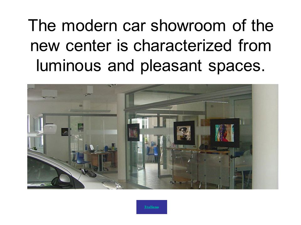 The modern car showroom of the new center is characterized from luminous and pleasant spaces.