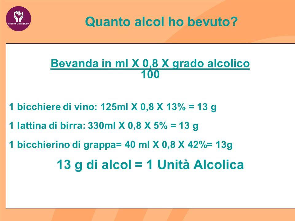 Bevanda in ml X 0,8 X grado alcolico 13 g di alcol = 1 Unità Alcolica