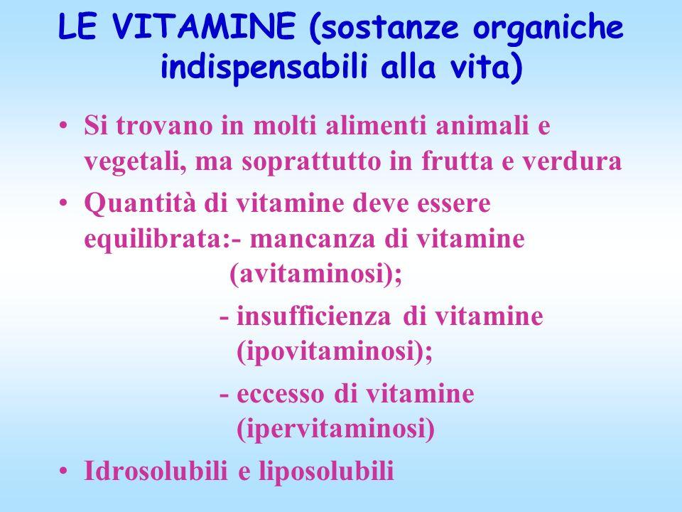 LE VITAMINE (sostanze organiche indispensabili alla vita)