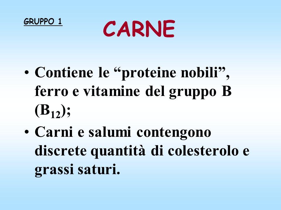 CARNE GRUPPO 1. Contiene le proteine nobili , ferro e vitamine del gruppo B (B12);