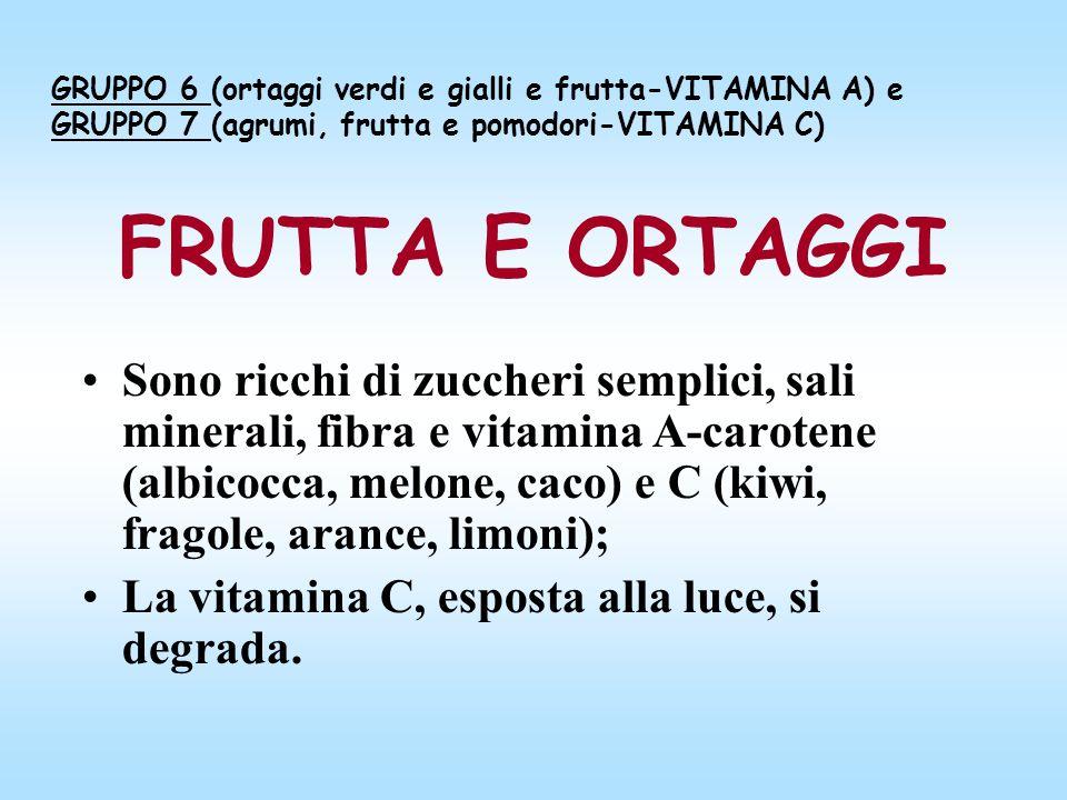 GRUPPO 6 (ortaggi verdi e gialli e frutta-VITAMINA A) e GRUPPO 7 (agrumi, frutta e pomodori-VITAMINA C)