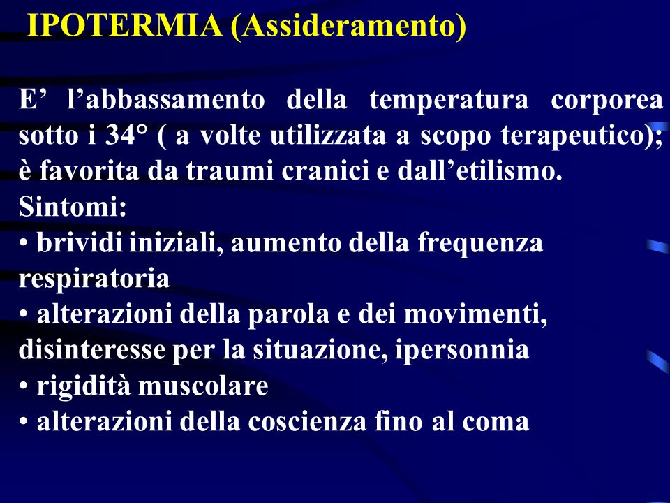 IPOTERMIA (Assideramento)