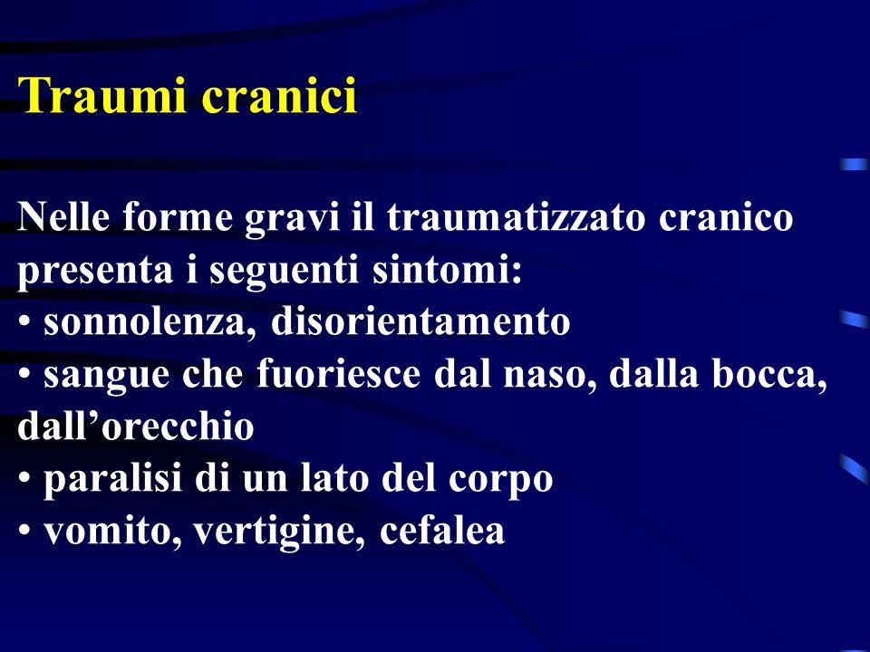Traumi cranici Nelle forme gravi il traumatizzato cranico