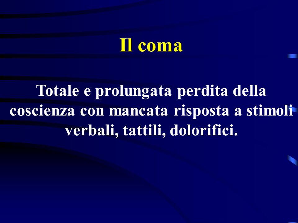 Il coma Totale e prolungata perdita della coscienza con mancata risposta a stimoli verbali, tattili, dolorifici.