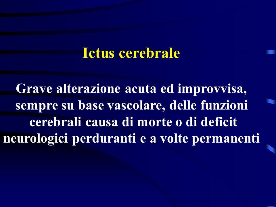 Ictus cerebrale Grave alterazione acuta ed improvvisa,